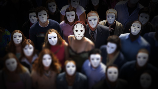 Doctored photograph of a crowd of people wearing white masks.