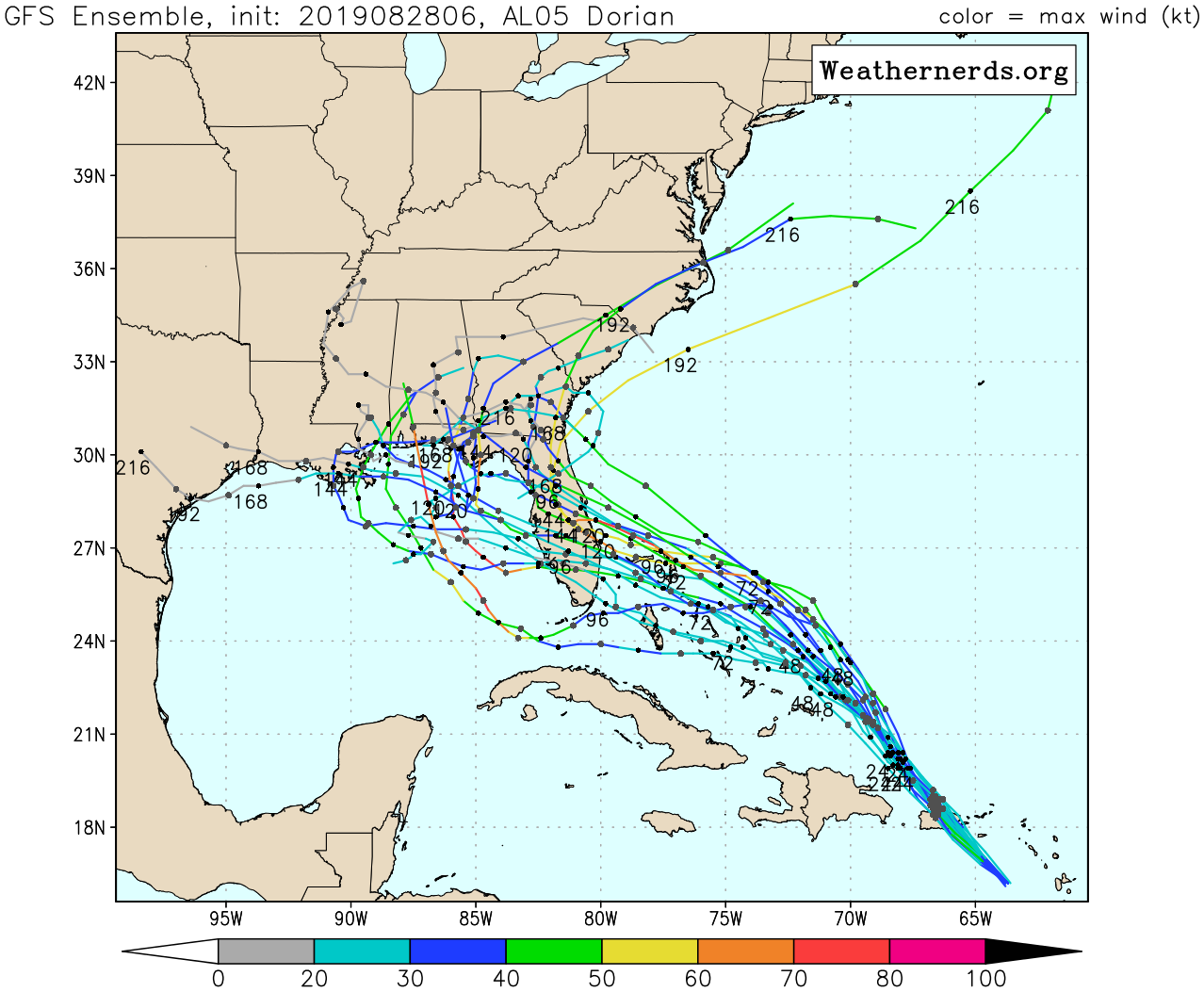 The GFS forecast model ensemble predictions for Dorian show a range of possibilities for the track into Florida, and beyond.