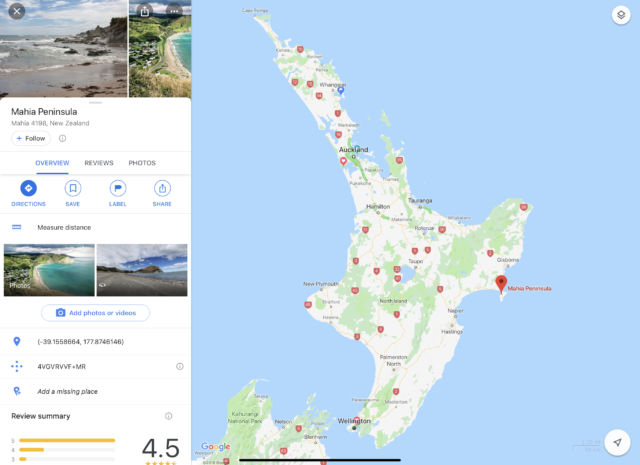 Here's a Google Maps screenshot of Auckland to Mahia for context.