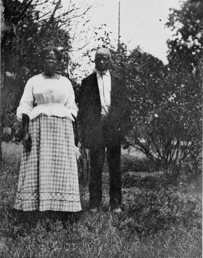 Abaché and Cudjoe Kazoola Lewis, two survivors of the <em>Clotilda</em>, at Africatown in the 1910s.