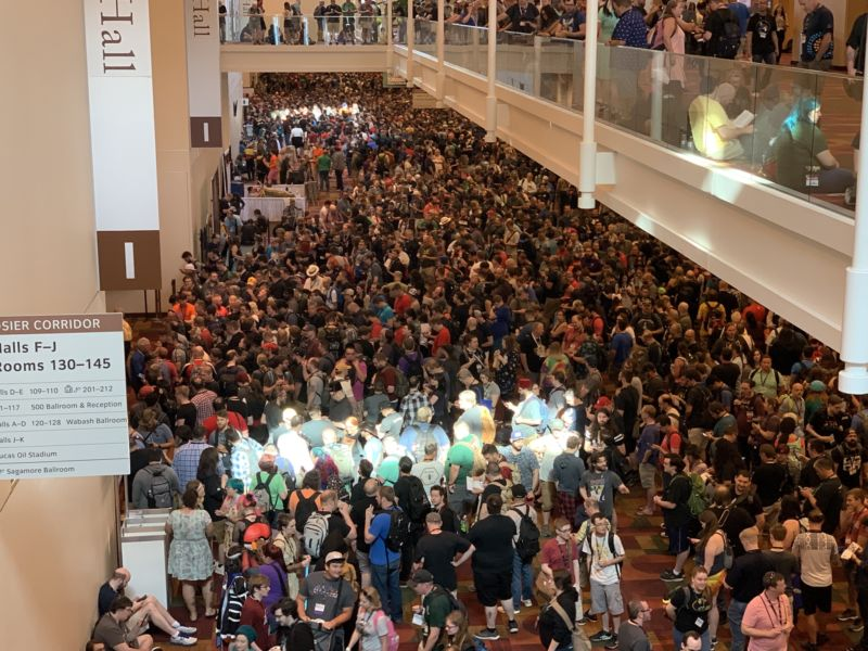 A sea of gamers prepares to storm the hall to snatch up the most coveted games before they sell out at Gen Con 2019.