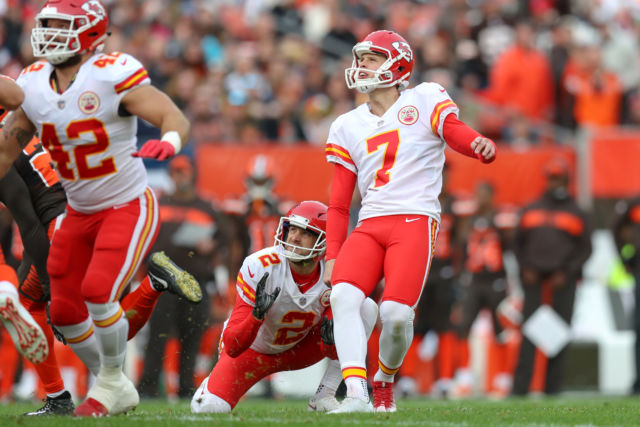 "Maybe Peyton Manning would call him an ""idiot kicker,"" but to others it's more like ""occasional fantasy football hero"" and Kansas City Chiefs place kicker Harrison Butker (7)."
