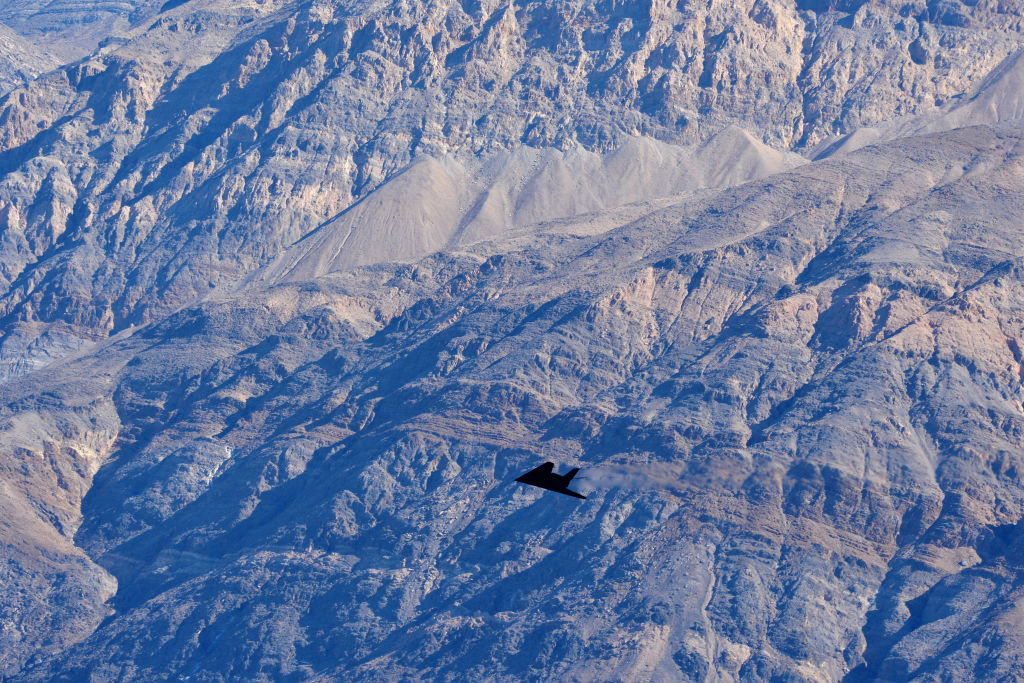 "An F-117 Nighthawk Stealth Fighter flies near the ""Jedi Transition"" on February 27, 2019 in Death Valley, California."