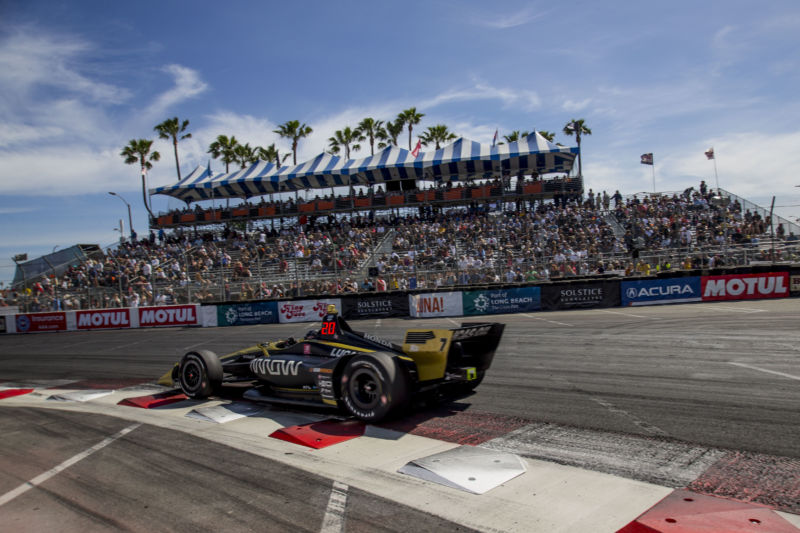 The #7 Honda IndyCar of Marcus Ericsson races on the track during the IndyCar race at the Acura Grand Prix of Long Beach in 2019.