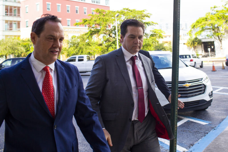 Craig Wright, right, arrives at federal court in West Palm Beach, Florida, on June 28, 2019.