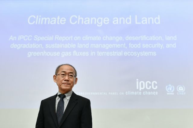 IPCC Chairman Hoesung Lee arrives to a press conference on a special IPCC report on climate change and land.