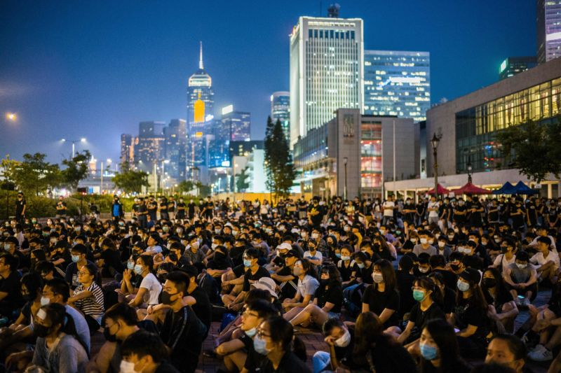 Students attend a rally at Edinburgh Place in Hong Kong on August 22, 2019.