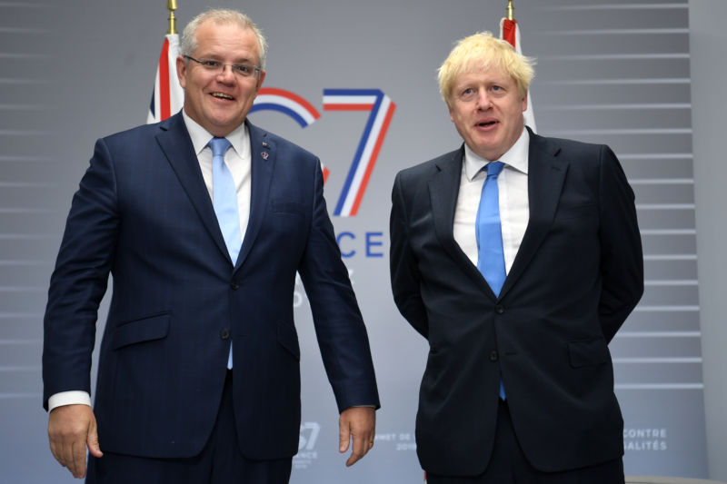Australian Prime Minister Scott Morrison (left) with British Prime Minister Boris Johnson during this weekend's G7 summit in France. The Australian government announced the new censorship proposal in conjunction with the gathering.