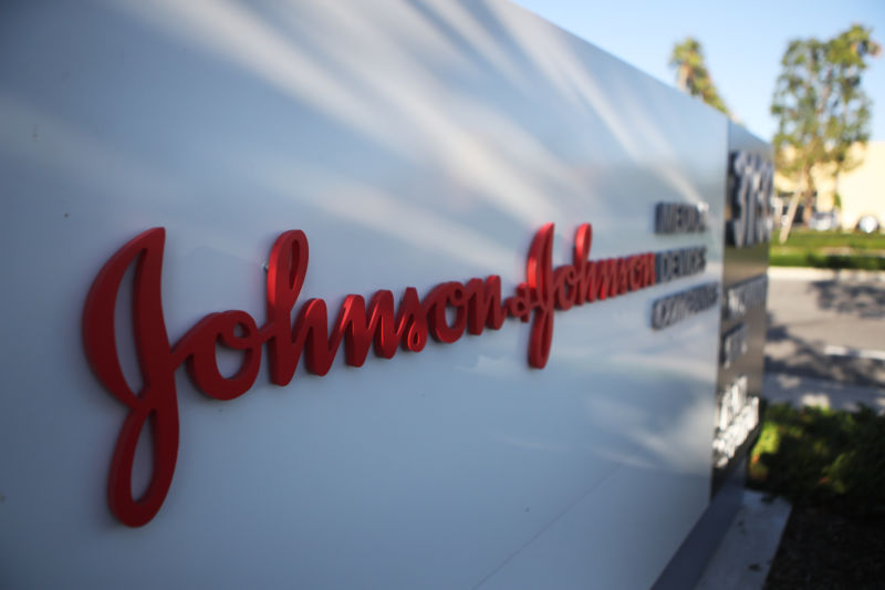 IRVINE, CALIFORNIA - AUGUST 26:  A sign is posted at the Johnson & Johnson campus on August 26, 2019 in Irvine, California. A judge has ordered the company to pay $572 million in connection with the opioid crisis in Oklahoma.  (Photo by Mario Tama/Getty Images)