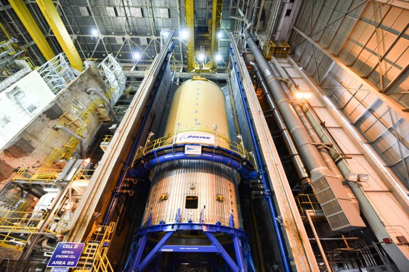 The Space Launch System (SLS) rocket's liquid oxygen tank structural test article was manufactured and stacked in June 2019 at NASA's Michoud Assembly Facility in New Orleans.