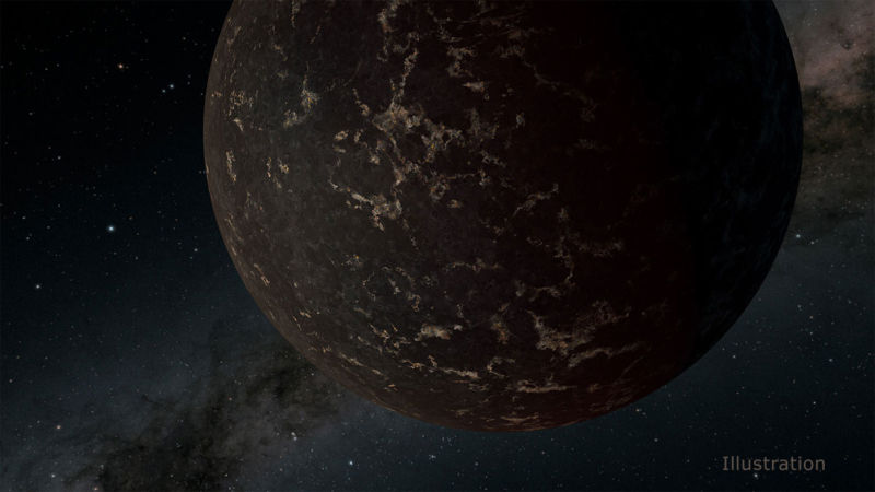 Image of a dark brown planet on a black background