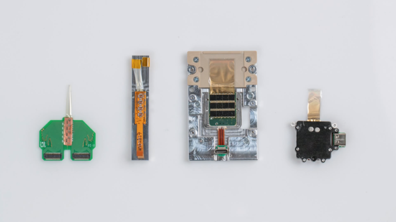 Several generations of neural implants from Neuralink.