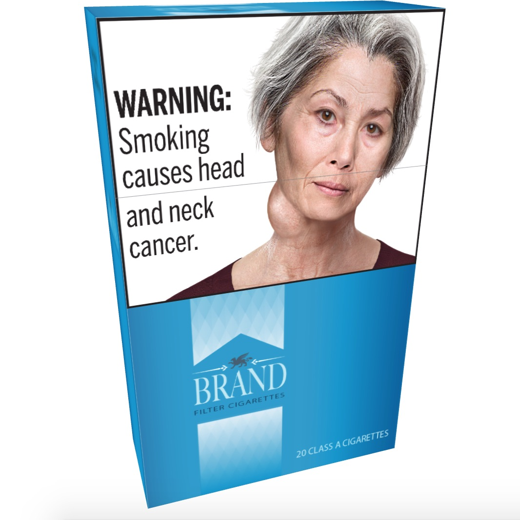 An example of what the warnings would look like on a packet of cigarettes.