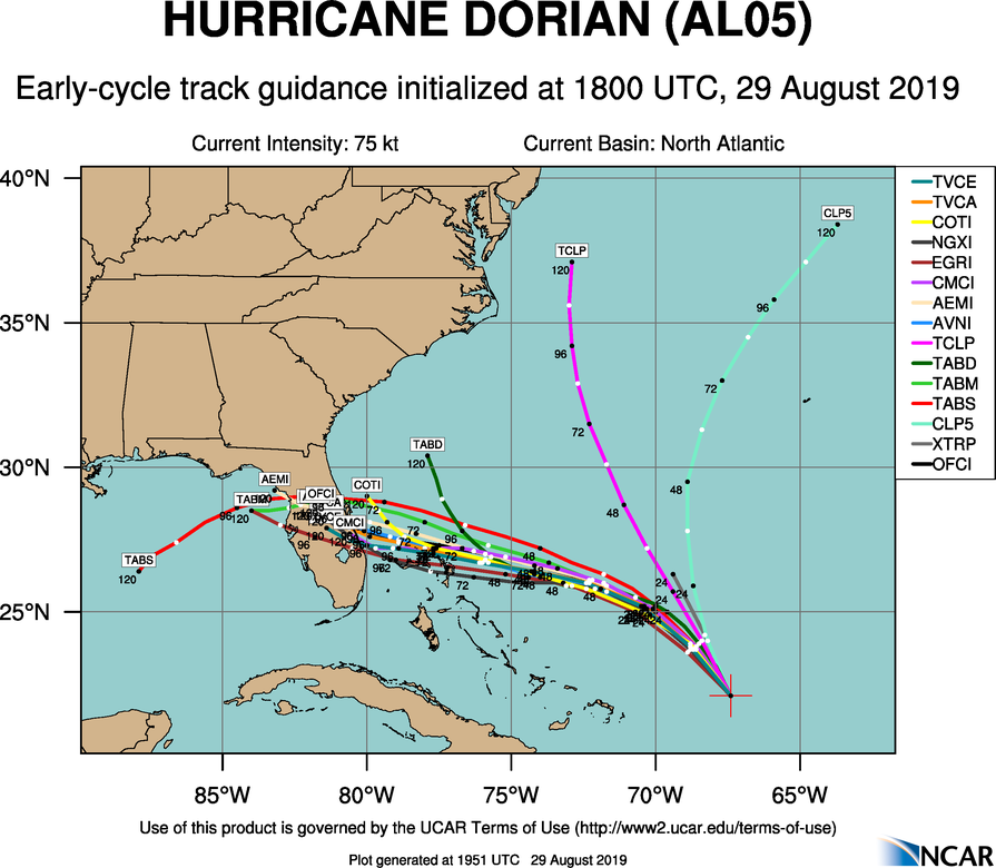 Hurricane Dorian track guidance from Thursday afternoon.