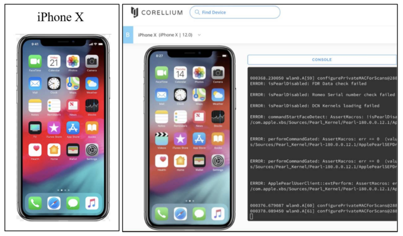 An image from Apple's lawsuit against Corellium displays how Corellium's service provides a copy of the iPhone operating system.
