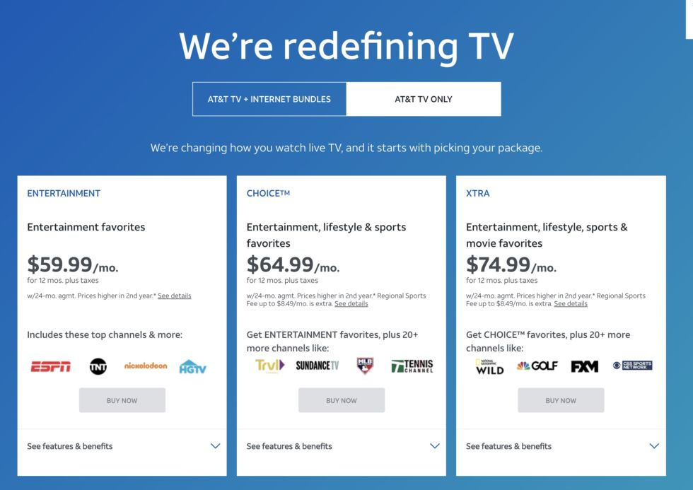 Prices for several AT&T TV channel packages.