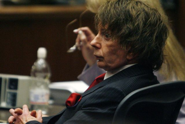 Music producer Phil Spector after the judge declared a mistrial due to a hung jury during his murder trial at the Los Angeles Superior Court September 26, 2007.
