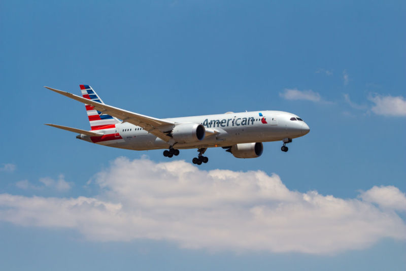 American Airlines Boeing 787-8 Dreamliner aircraft with registration N818AL landing at Athens International Airport.