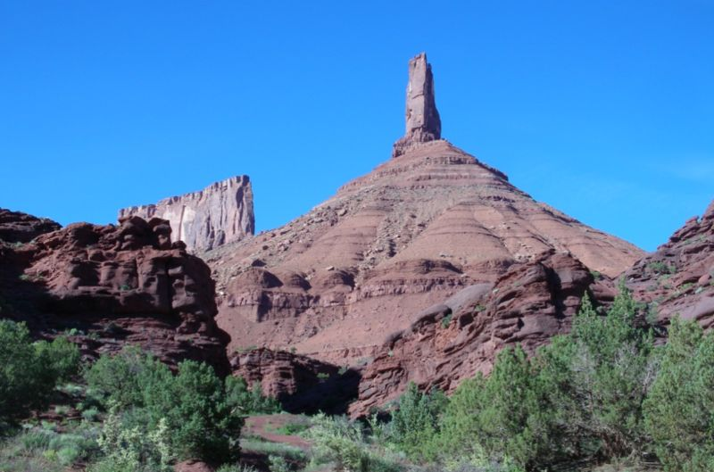 The Castleton Tower in Moab National Park, Utah is a popular climbing destination.