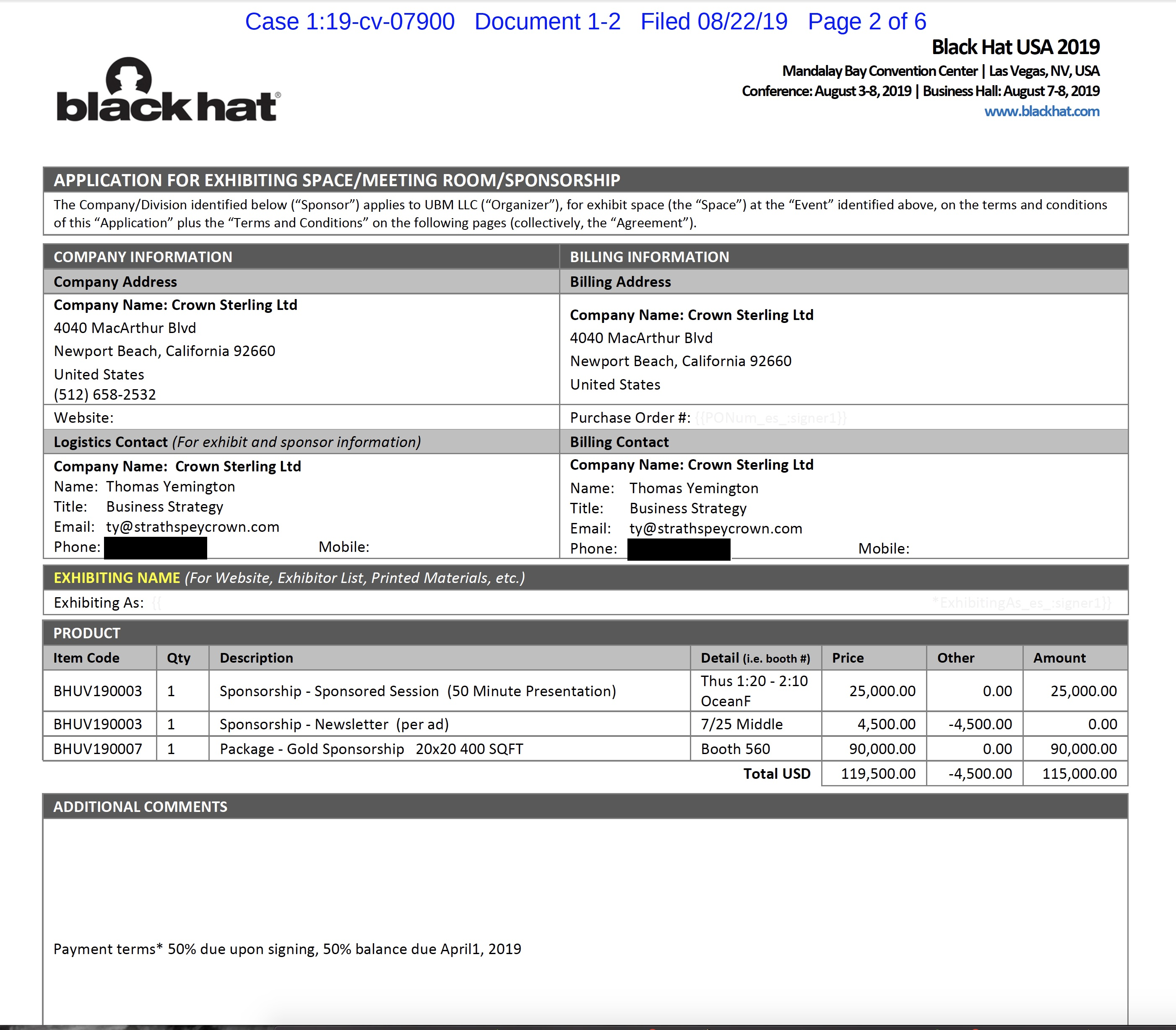 "The invoice for Crown Sterling's speaking slot and ""gold"" sponsorship."