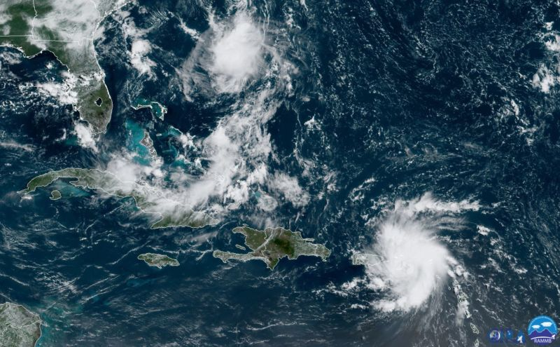 A NOAA satellite image from 11am ET shows the position of Tropical Storm Dorian near Puerto Rico.
