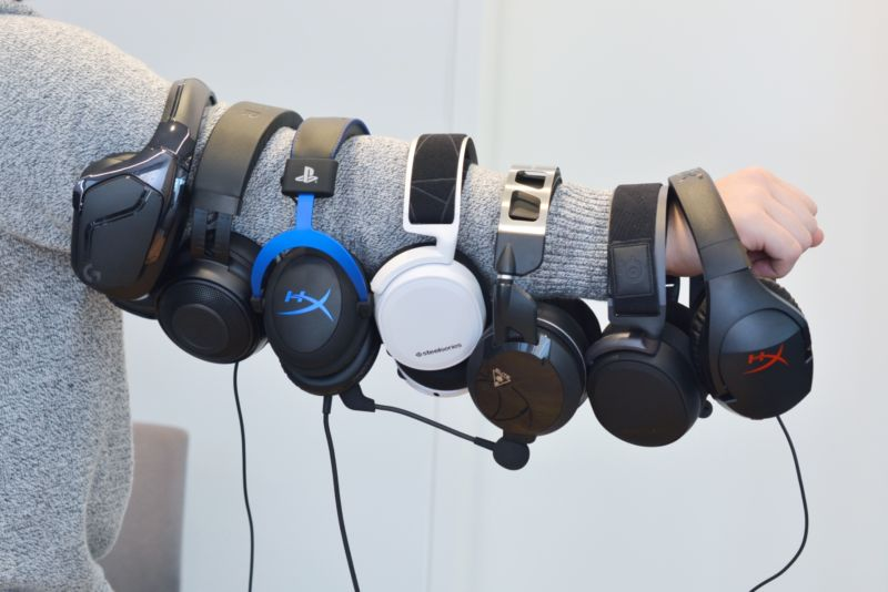 Just an armful of the gaming headsets we tested.