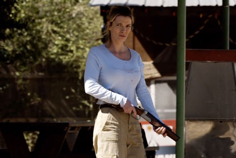 "In <em>The Hunt</em>, Betty Gilpin plays Crystal, a woman who must fight for her life when she's hunted by wealthy ""elites."""