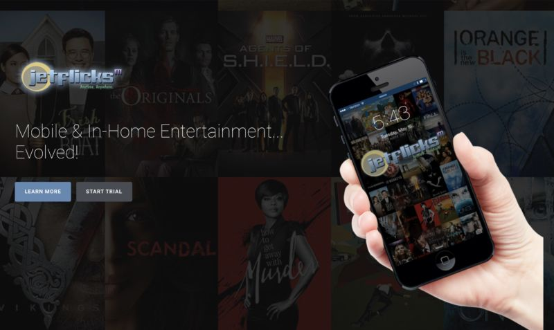 Screen capture of the Jetflicks website in 2016 shows the video streaming service on a smartphone.