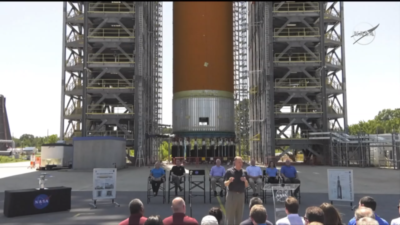 NASA Administrator Jim Bridenstine speaks in front of a large hydrogen tank Friday at Marshall Space Flight Center.