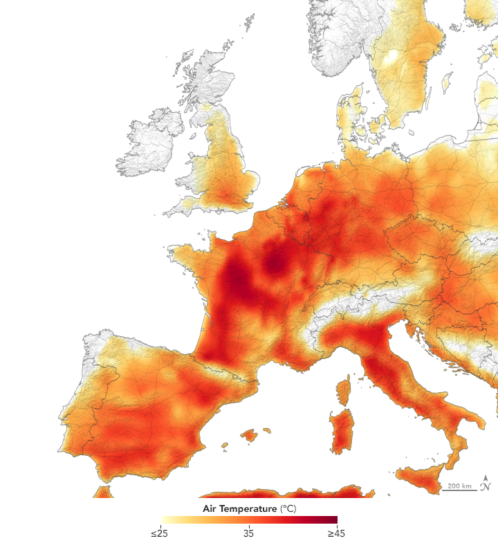 Map of Europe stylized for temperatures.