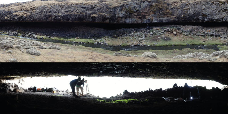 Photo of rock shelter entrance from outside, and from inside with a person bending over to show how low it is.