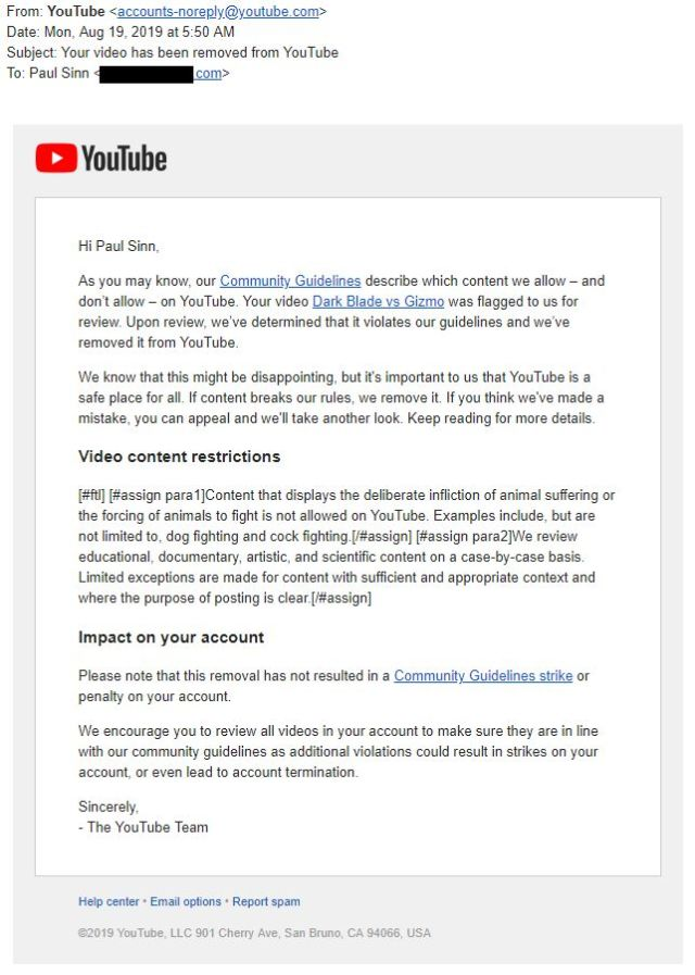 The YouTube takedown email to Paul Sinn.