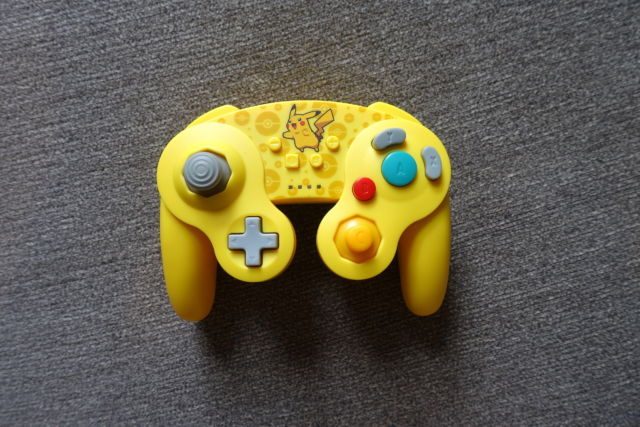 The PowerA GameCube-style wireless controller for Nintendo Switch, here in its Pikachu-themed variant.