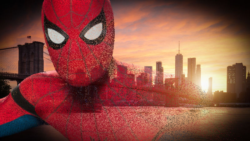 Face of Spider-Man is superimposed on city skyline.