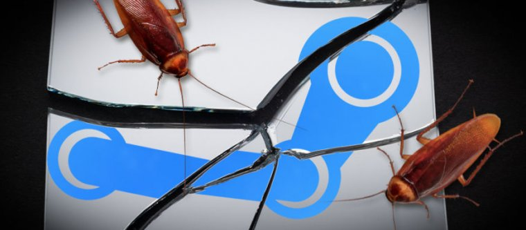 Manipulated image shows cockroaches on shattered logo for streaming site Steam.