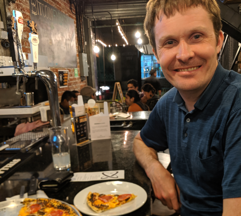 Me at Bitcoin Embassy Bar in Mexico City.