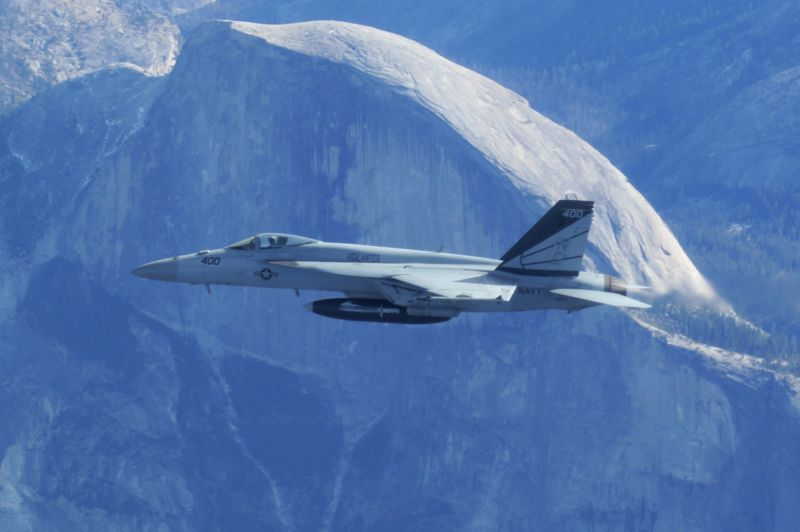 "An F/A-18 from VFA-151, ""the Vigilantes."" A similar aircraft from the squadron crashed on Wednesday flying through what aviation enthusiasts refer to as 