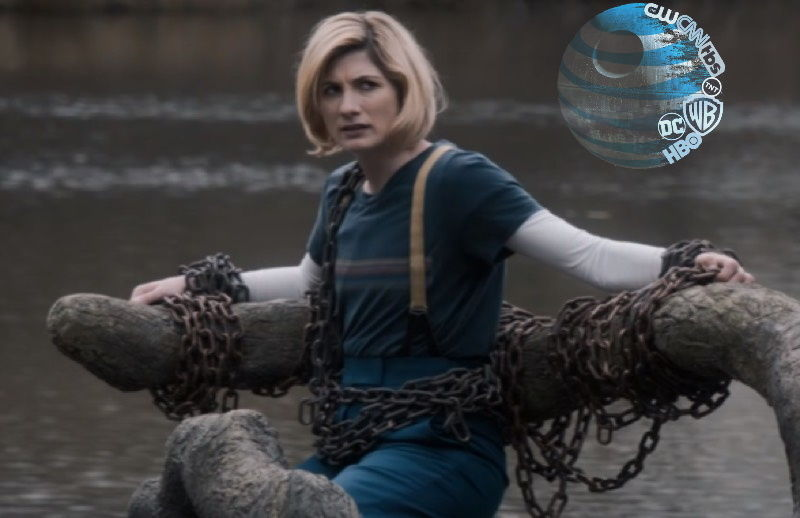 Jodie Whittaker, who plays <em>Doctor Who</em>'s 13th Doctor, is seen here contemplating her future fate chained to HBO Max.