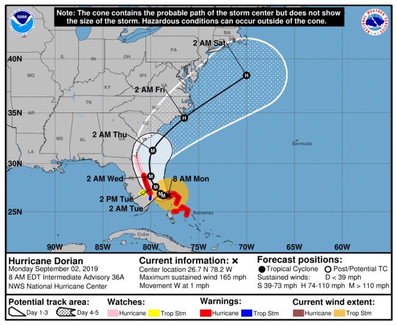 Official forecast track for Hurricane Dorian as of 8am ET.