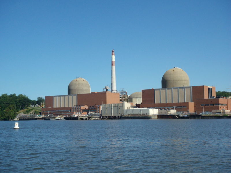 An American nuclear reactor on the bank of a river.