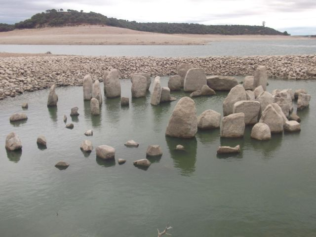 The dolmen was partially exposed by low water in 2012.