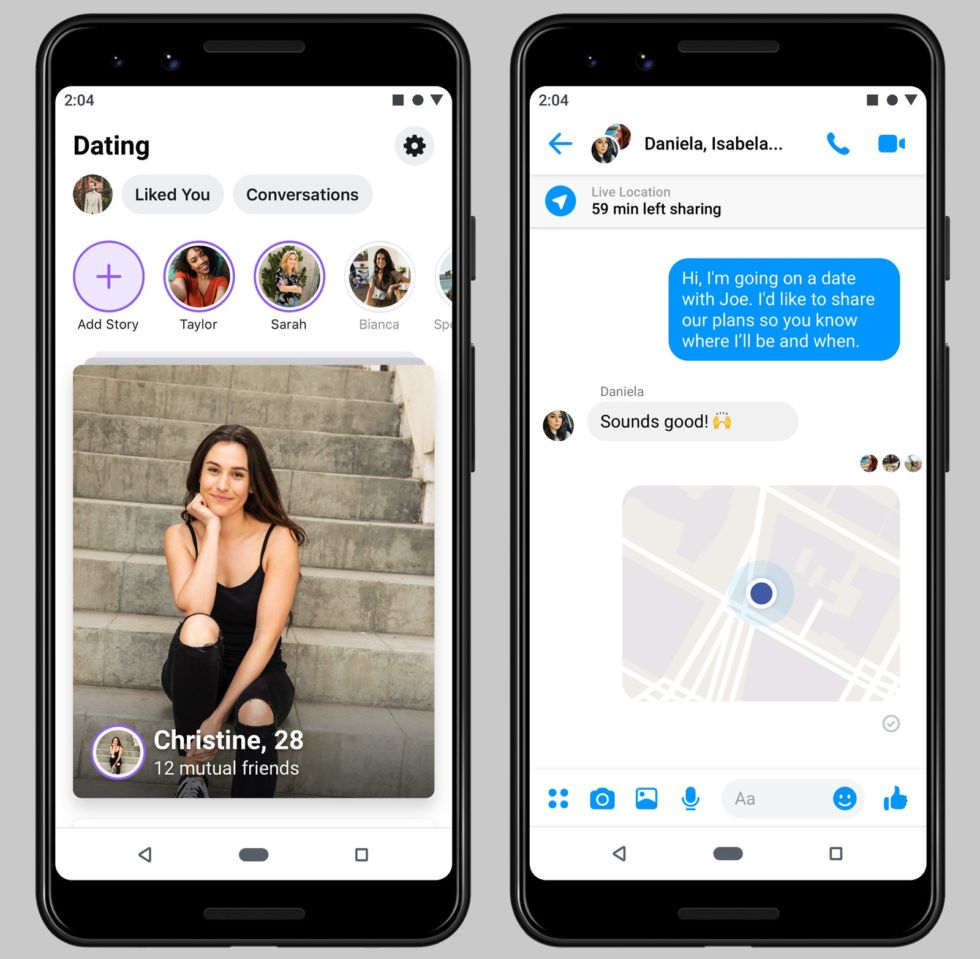 Facebook Dating shows you matches (left) and also lets you message a friend about your location when you meet someone (right).