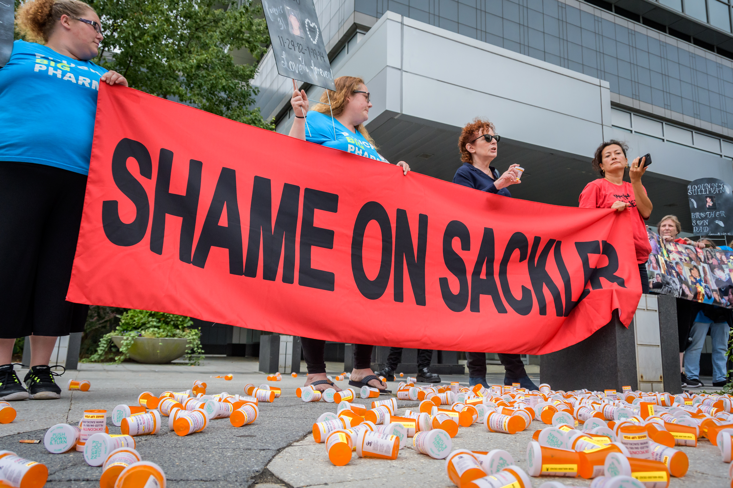 A protest on September 12, 2019, outside Purdue Pharma headquarters in Stamford, Connecticut.