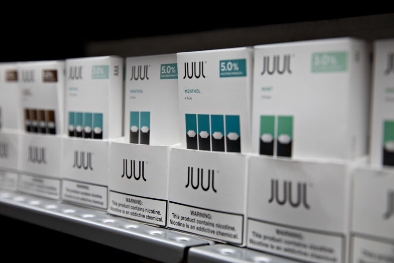 Mint and menthol pods for Juul Labs Inc. e-cigarettes are displayed for sale at a store in Princeton, Illinois, on Monday, Sept. 16, 2019.
