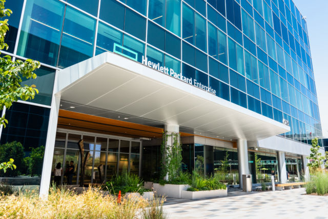 A look at the new Hewlett Packard Enterprise (HPE) corporate headquarters located in Silicon Valley in August 2019.