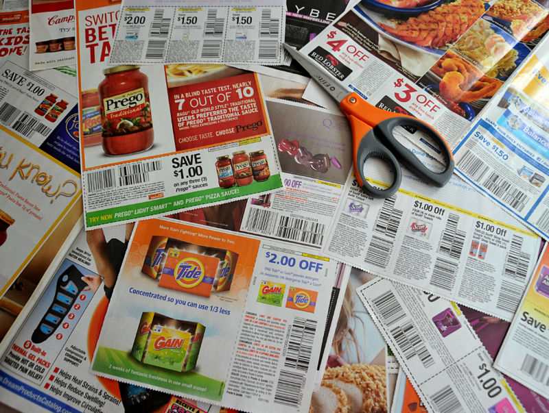 Coupons from the advertising section of a Sunday newspaper