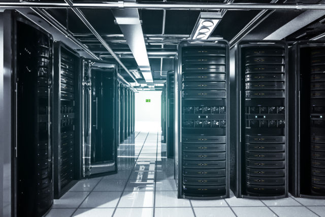 Rows of servers and racks. Whether big or small, this is what most corporate datacenter look like.