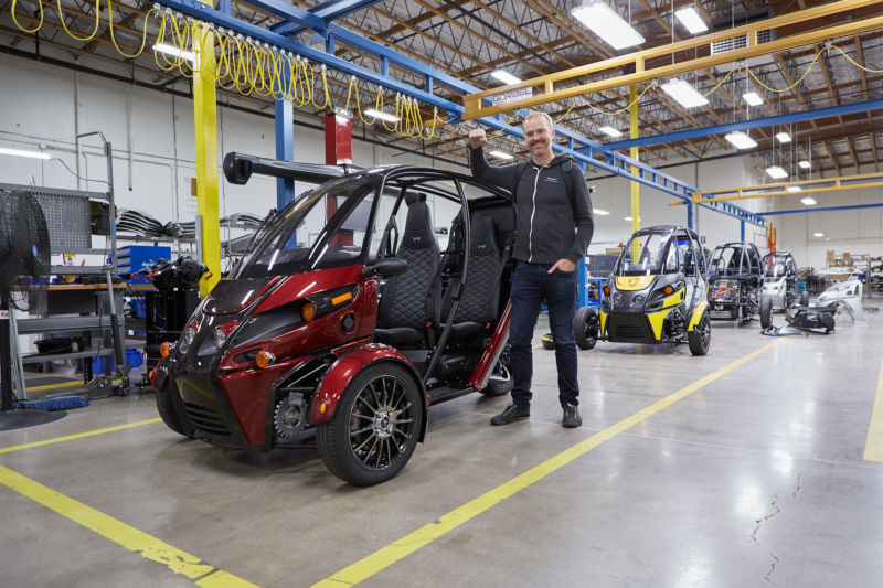 Mark Frohnmayer, Arcimoto's founder and President, with an Evergreen Edition at the company's Oregon factory.