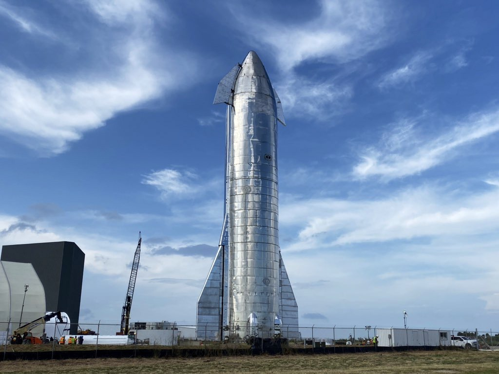 A prototype of SpaceX's Starship vehicle stands 50 meters tall in South Texas.